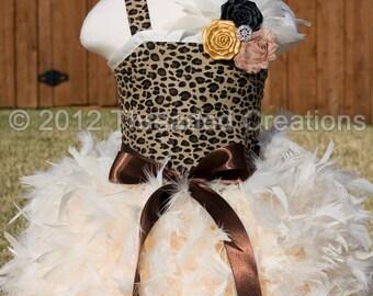 Feather Dress - Leopard Dress- Cheetah Dress - Leopard Tutu Diva Dress