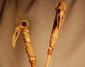 faux bone bird skull bead hair sticks set of two
