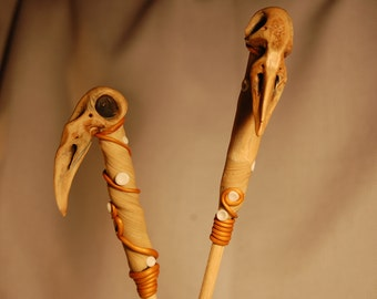 faux bone bird skull bead hair sticks set of two