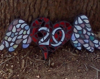 stained glass mosaic art, winged heart, heart mosaic, personalized mosaic art, custom art, winged heart, street numbers, street address