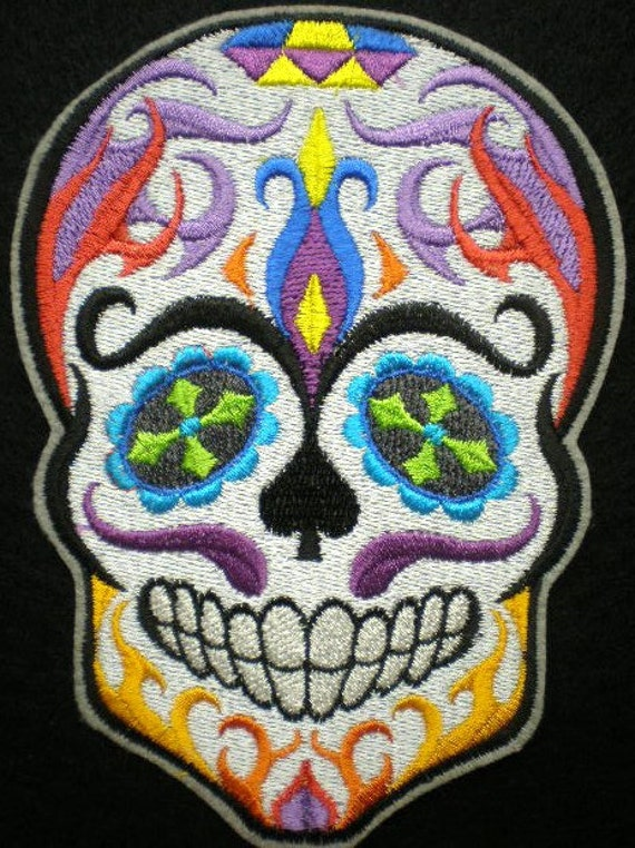Extra Large Embroidered Sugar Skull Iron On Patch, Day of ...