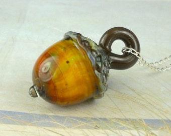 Acorn Necklace Lampwork Bead  Pendant