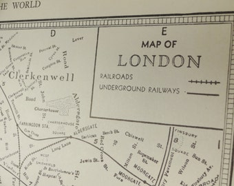 1939 London England Vintage City Atlas Map