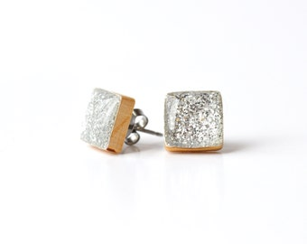 Silver glitter square studs mom sparkle post earrings wood earrings minimalist jewelry eco friendly unique gift for her