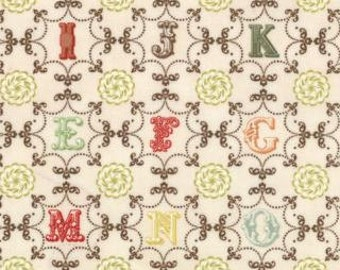 Odds and Ends by Cosmo Cricket - Moda - Monogram Letters on Ecru - FQ fat quarter cotton quilt fabric 415