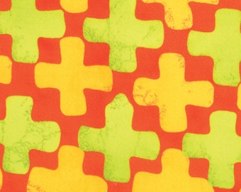 Summer Simple Marks by Malka Dubrawsky for Moda - Clementine Orange Yellow Cross - Fat Quarter cotton quilt fabric 516