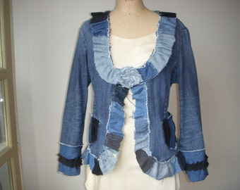 Jean Denim Jacket Flower Black Blue Trim Ruffles Bows Recycled Restyled Upcycled Handmade