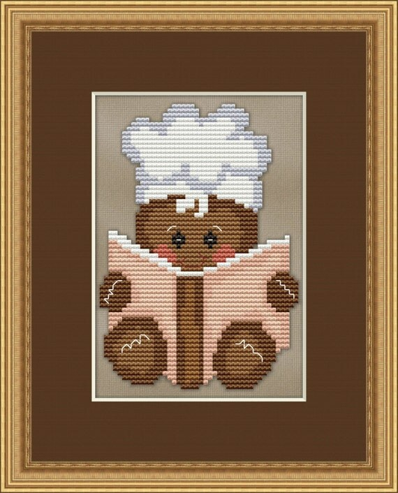 Counted cross stitch pattern gingerbread baker chef cute for Cross stitch kitchen designs