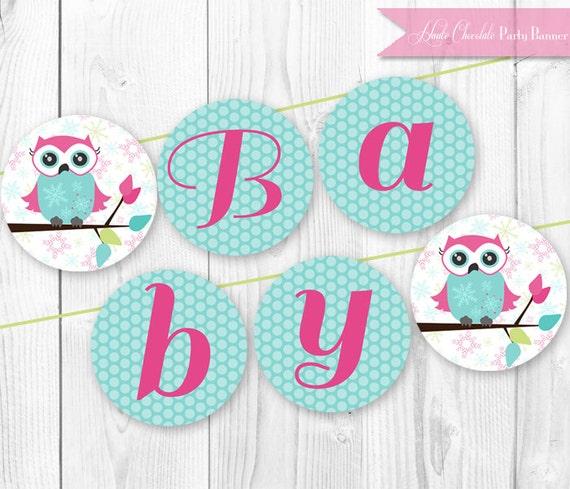 Items Similar To Winter Owl Baby Shower Banner DIY Print
