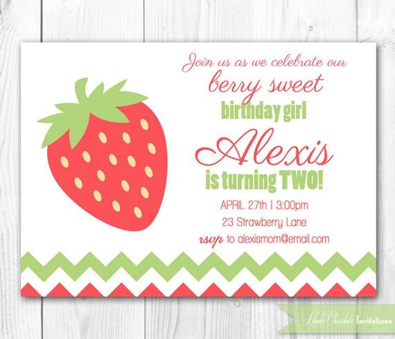 Items Similar To Strawberry Birthday Party Invitation