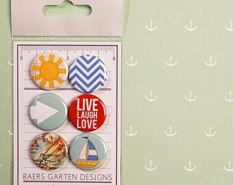 Badges / Adhesive buttons Summer Getaway - Boat - Live Laugh Love - Sun - Map - Chevron - Sea