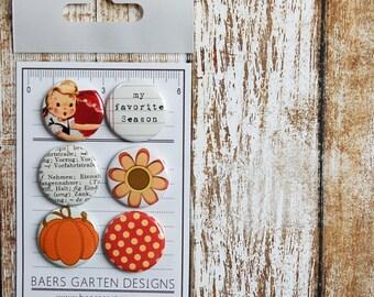 Badges / Adhesive buttons Happy Fall / Vintage / Pumpkin / Polka Dots