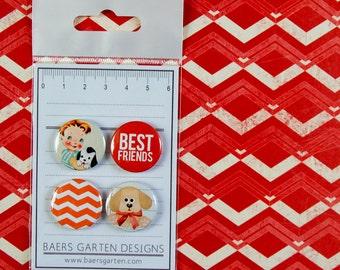 Badges / Adhesive buttons Pretty Pet / Vintage / Dog / Boy / best friends