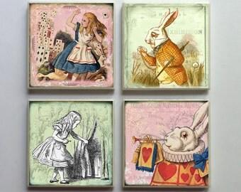Vintage-Style Alice in Wonderland - Ceramic Tile 4-pc. Refrigerator Memo Magnet Set Magnets - Set No. 3