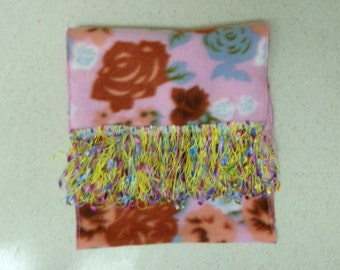 Floral Pink Fleece Scarf with Fiesta Feather Loop/Fringe