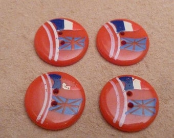 4 Vintage Flag Buttons 1940s French and English Flags France and England