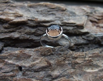Faceted Smoky Quartz Ring - 925 Sterling Silver - Bezel Set Rose Cut Cabochon - Size Seven 7 -Handmade Jewelry