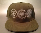 Energy Flow Fitted Hat made to order flat bill sacred geometry FREE SHIPPING