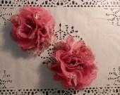 """Bright Pink Paisley  4.5"""" Chiffon Mesh Flowers - 2 PCS"""