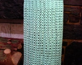 Vintage Crocheted Maxi Skirt, Aqua Turquoise Skirt, Hippy Boho
