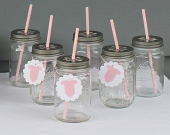 """LITTLE LADY """"It's a Girl"""" Quatrefoil Party Drink Accent Tags 12 {One Dozen} - Party Packs Available"""