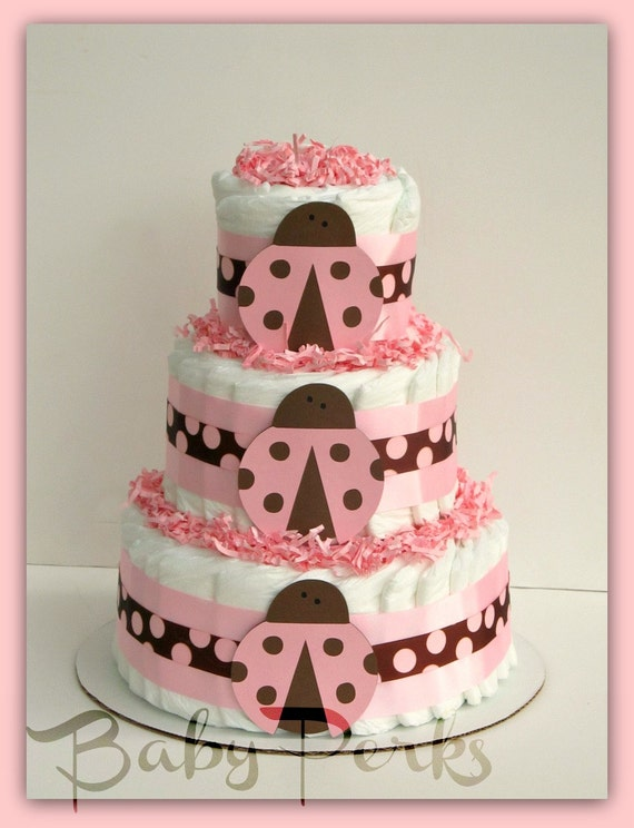 Diaper Cake, Baby Shower , Baby Shower Decorations, Pink Diaper Cake ...