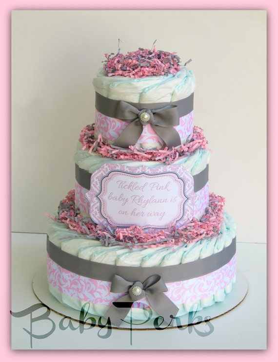 Pink damask diaper cake pink and grey baby shower baby by for Baby shower decoration diaper cake