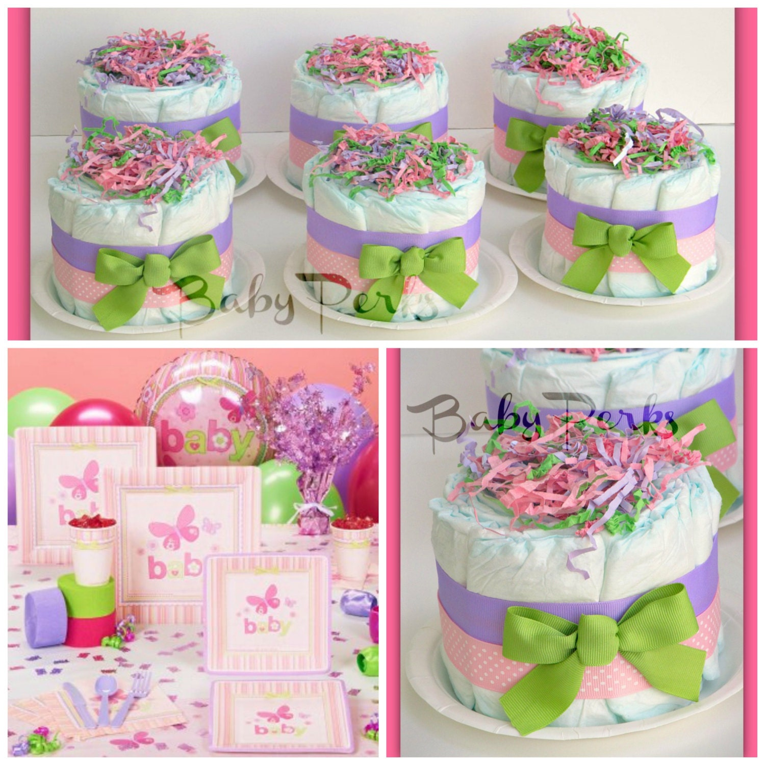 6 mini diaper cakes any colors baby shower decorations for Baby shower diaper decoration