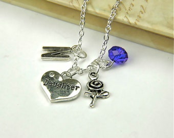 Personalized Daughter Necklace with Your Initial and Birthstone