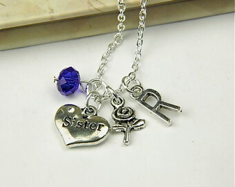 Personalized Sister Necklace with Your Initial and Birthstone