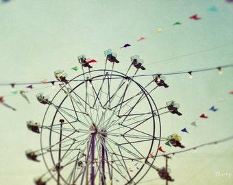 ferris wheel, carnival, festival, summer, blue, fine art photography