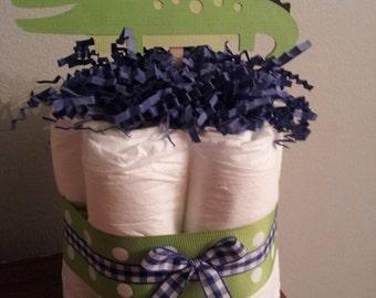 1 Alligator mini diaper cake, baby shower centerpiece or decoration