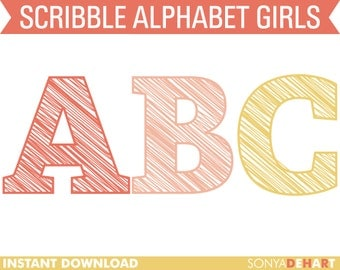 80% OFF Sale Clipart Digital Alphabet Scribble Letters for Girls Girly Clip Art