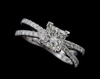 1CT Princess Cut Moissanite Ring, Split Double Shank Diamond Ring, Cut Down Micro Pave Set Engagement Ring, Contemporary Style Platinum Ring