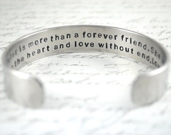 A Sister Is More Than A Forever Friend Secret Message Hand Stamped Bracelet- Personalized Bracelet