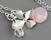 Silver Flower Necklace,  Pink Chalcedony Necklace, Flower Pendant Necklace, Handmade Sterling Silver Jewelry