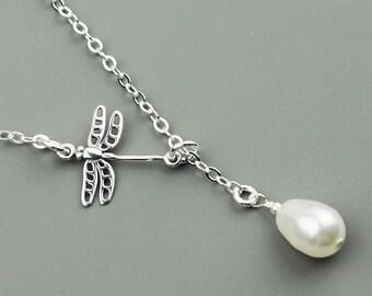 Dragonfly Necklace - White Swarovski Pearl Drop Necklace - Sterling Silver Lariat Necklace - Sterling Silver Jewelry Handmade