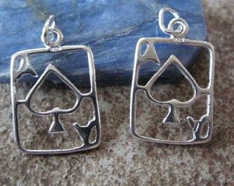 Ace of Spades Sterling Silver Charm Playing Card Earring Finding 1PR
