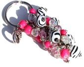 Chunky Cowgirl Key Chain - Black and White Zebra, Pink and Clear
