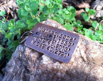 GPS Coordinate Keychain with Two Sets of Coordinates