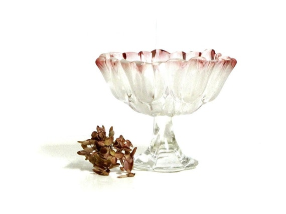 Vintage Tulip Art Glass Compote Footed Bowl Frosted Pink