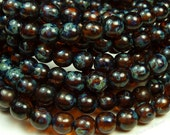 3mm Dark Amber Brown Picasso Czech Glass Beads - 50pc Strand - Round, Smooth Druks - BD37