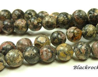 6mm Leopardskin Jasper Natural Gemstone Beads - 15.5 Inch Strand - Round, Navy Blue, Mauve, Golden Yellow, Brown, Rustic - BC14