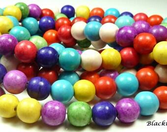 8mm Multicolor Magnesite Round Gemstone Beads - 16 Inch Strand - Gumball Beads - BG23