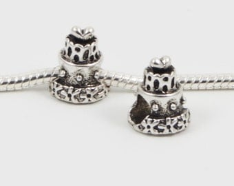 3 Beads - Cake Birthday Party Silver European Bead Charm E0116