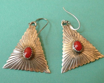 1970s SIGNED Sterling Silver and Coral Southwestern Earrings