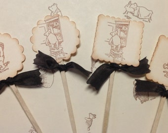Winnie the Pooh Cupcake Topper-Pooh's honey pot-classic pooh favors-set of 12
