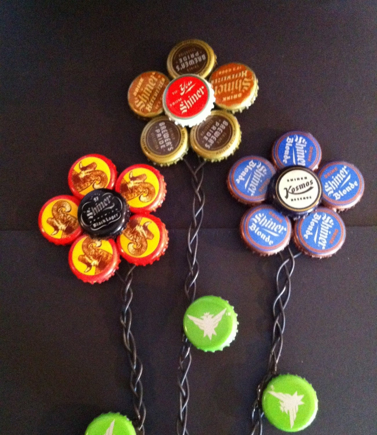 Shiner family bottle cap flowers set of 3 for How to make bottle cap flowers