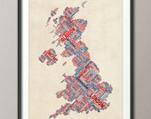 Great Britain UK City Text Map, Art Print (302)