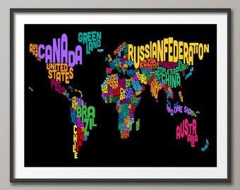 Typographic Text Map of the World Map, Art Print (606)